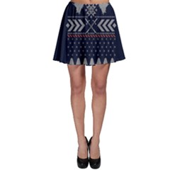 Winter Is Coming Game Of Thrones Ugly Christmas Blue Background Skater Skirt
