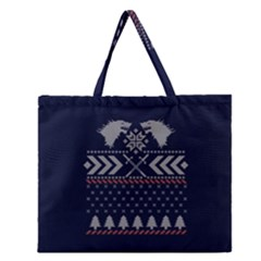 Winter Is Coming Game Of Thrones Ugly Christmas Blue Background Zipper Large Tote Bag