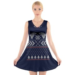 Winter Is Coming Game Of Thrones Ugly Christmas Blue Background V Neck Sleeveless Skater Dress