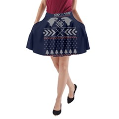 Winter Is Coming Game Of Thrones Ugly Christmas Blue Background A Line Pocket Skirt