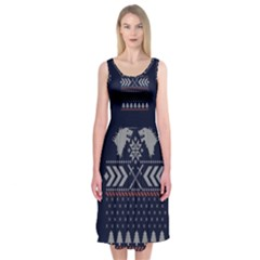 Winter Is Coming Game Of Thrones Ugly Christmas Blue Background Midi Sleeveless Dress