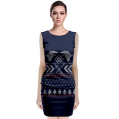 Winter Is Coming Game Of Thrones Ugly Christmas Blue Background Classic Sleeveless Midi Dress