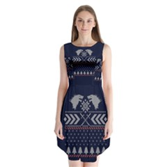 Winter Is Coming Game Of Thrones Ugly Christmas Blue Background Sleeveless Chiffon Dress