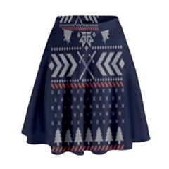 Winter Is Coming Game Of Thrones Ugly Christmas Blue Background High Waist Skirt