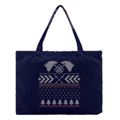 Winter Is Coming Game Of Thrones Ugly Christmas Blue Background Medium Tote Bag