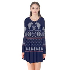 Winter Is Coming Game Of Thrones Ugly Christmas Blue Background Flare Dress