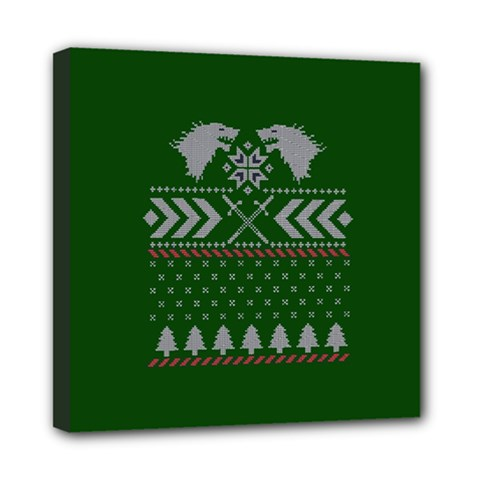 Winter Is Coming Game Of Thrones Ugly Christmas Green Background Mini Canvas 8  X 8