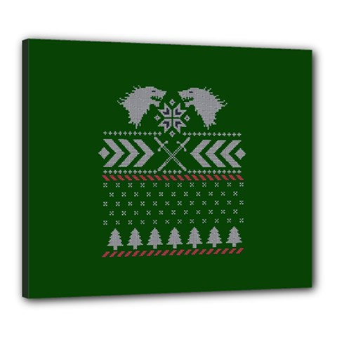 Winter Is Coming Game Of Thrones Ugly Christmas Green Background Canvas 24  X 20