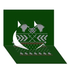 Winter Is Coming Game Of Thrones Ugly Christmas Green Background Heart 3D Greeting Card (7x5)