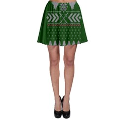 Winter Is Coming Game Of Thrones Ugly Christmas Green Background Skater Skirt