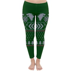 Winter Is Coming Game Of Thrones Ugly Christmas Green Background Classic Winter Leggings