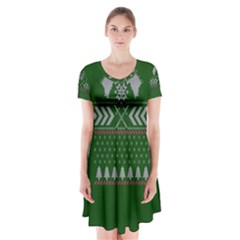 Winter Is Coming Game Of Thrones Ugly Christmas Green Background Short Sleeve V Neck Flare Dress