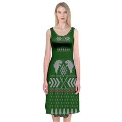 Winter Is Coming Game Of Thrones Ugly Christmas Green Background Midi Sleeveless Dress