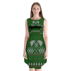 Winter Is Coming Game Of Thrones Ugly Christmas Green Background Sleeveless Chiffon Dress