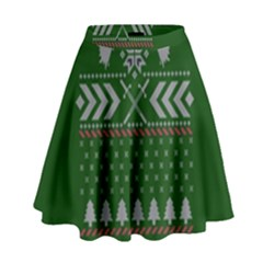 Winter Is Coming Game Of Thrones Ugly Christmas Green Background High Waist Skirt