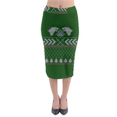 Winter Is Coming Game Of Thrones Ugly Christmas Green Background Midi Pencil Skirt