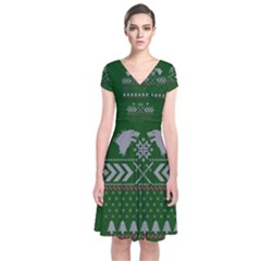 Winter Is Coming Game Of Thrones Ugly Christmas Green Background Short Sleeve Front Wrap Dress