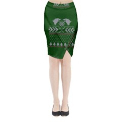 Winter Is Coming Game Of Thrones Ugly Christmas Green Background Midi Wrap Pencil Skirt