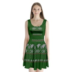 Winter Is Coming Game Of Thrones Ugly Christmas Green Background Split Back Mini Dress