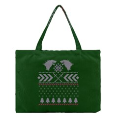 Winter Is Coming Game Of Thrones Ugly Christmas Green Background Medium Tote Bag