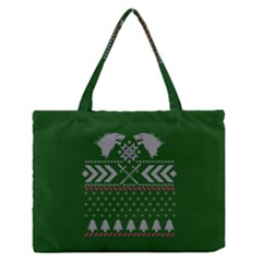 Winter Is Coming Game Of Thrones Ugly Christmas Green Background Medium Zipper Tote Bag