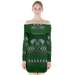 Winter Is Coming Game Of Thrones Ugly Christmas Green Background Long Sleeve Off Shoulder Dress