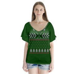 Winter Is Coming Game Of Thrones Ugly Christmas Green Background Flutter Sleeve Top