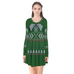 Winter Is Coming Game Of Thrones Ugly Christmas Green Background Flare Dress