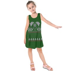 Winter Is Coming Game Of Thrones Ugly Christmas Green Background Kids  Sleeveless Dress