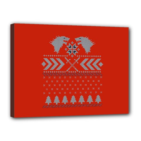 Winter Is Coming Game Of Thrones Ugly Christmas Red Background Canvas 16  X 12