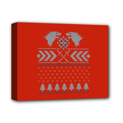 Winter Is Coming Game Of Thrones Ugly Christmas Red Background Deluxe Canvas 14  X 11