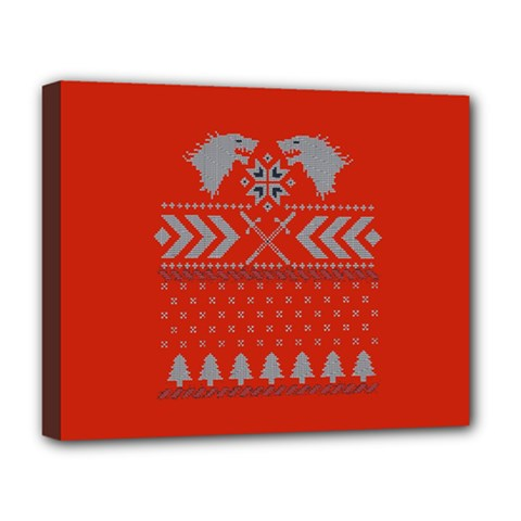 Winter Is Coming Game Of Thrones Ugly Christmas Red Background Deluxe Canvas 20  X 16