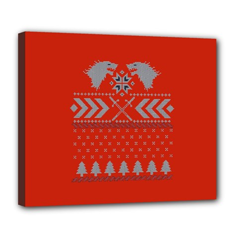 Winter Is Coming Game Of Thrones Ugly Christmas Red Background Deluxe Canvas 24  X 20