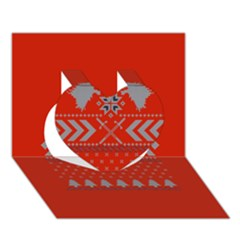 Winter Is Coming Game Of Thrones Ugly Christmas Red Background Heart 3d Greeting Card (7x5)