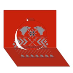 Winter Is Coming Game Of Thrones Ugly Christmas Red Background Circle 3d Greeting Card (7x5)