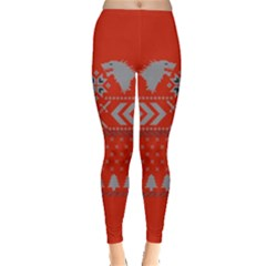 Winter Is Coming Game Of Thrones Ugly Christmas Red Background Leggings