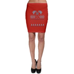 Winter Is Coming Game Of Thrones Ugly Christmas Red Background Bodycon Skirt