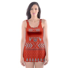 Winter Is Coming Game Of Thrones Ugly Christmas Red Background Skater Dress Swimsuit