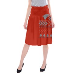 Winter Is Coming Game Of Thrones Ugly Christmas Red Background Midi Beach Skirt
