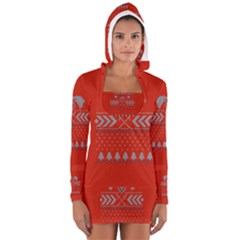 Winter Is Coming Game Of Thrones Ugly Christmas Red Background Women s Long Sleeve Hooded T Shirt