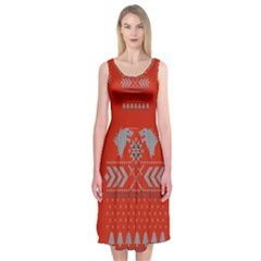 Winter Is Coming Game Of Thrones Ugly Christmas Red Background Midi Sleeveless Dress