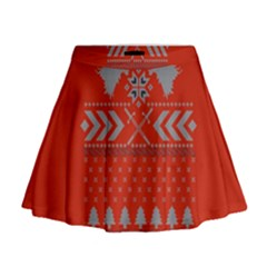 Winter Is Coming Game Of Thrones Ugly Christmas Red Background Mini Flare Skirt