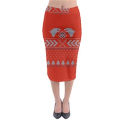 Winter Is Coming Game Of Thrones Ugly Christmas Red Background Midi Pencil Skirt