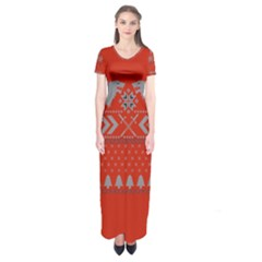 Winter Is Coming Game Of Thrones Ugly Christmas Red Background Short Sleeve Maxi Dress