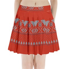 Winter Is Coming Game Of Thrones Ugly Christmas Red Background Pleated Mini Skirt
