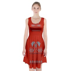 Winter Is Coming Game Of Thrones Ugly Christmas Red Background Racerback Midi Dress