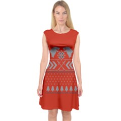 Winter Is Coming Game Of Thrones Ugly Christmas Red Background Capsleeve Midi Dress