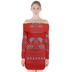 Winter Is Coming Game Of Thrones Ugly Christmas Red Background Long Sleeve Off Shoulder Dress