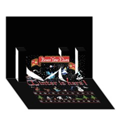 Winter Is Here Ugly Holiday Christmas Black Background I Love You 3d Greeting Card (7x5)