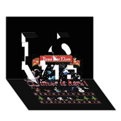 Winter Is Here Ugly Holiday Christmas Black Background Love 3d Greeting Card (7x5)